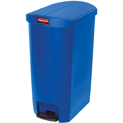 Rubbermaid Resin Slim Jim 68 Litre End Step Step-On Pedal Bin Blue