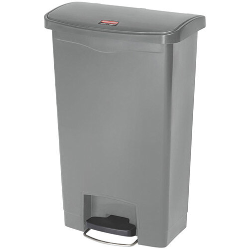 Rubbermaid Resin Slim Jim 50 Litre Front Step Step-On Waste Basket Grey