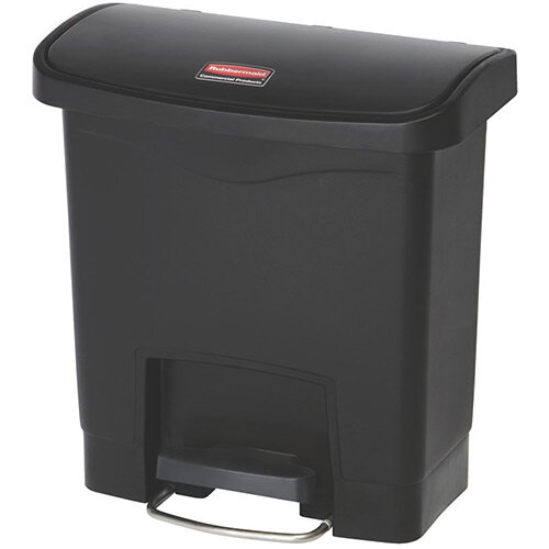 Rubbermaid Resin Slim Jim 15 Litre Front Step Step-On Pedal Bin Black