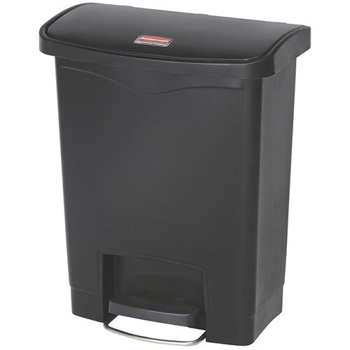 Rubbermaid Resin Slim Jim 30 Litre Front Step Step-On Pedal Bin Black