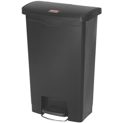 Rubbermaid Resin Slim Jim 50 Litre Front Step Step-On Waste Basket Black