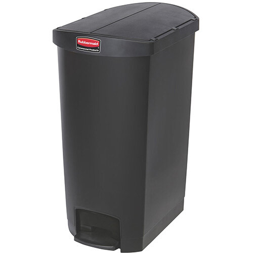 Rubbermaid Resin Slim Jim 68 Litre End Step Step-On Pedal Bin Black