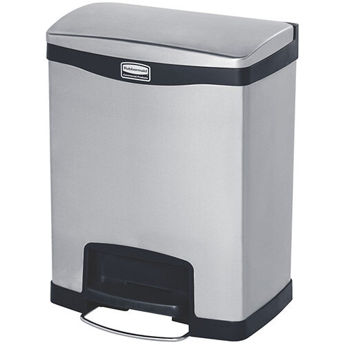Rubbermaid Metal Slim Jim 30 Litre Front Step Step-On Stainless Steel Pedal Bin Black