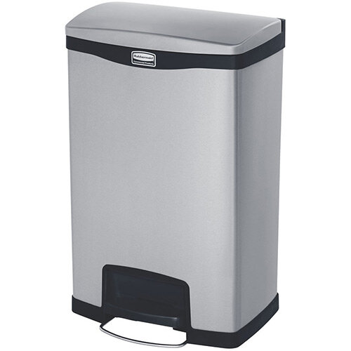 Rubbermaid Metal Slim Jim 50 Litre Front Step Step-On Stainless Steel Pedal Bin with Dual Liner Black