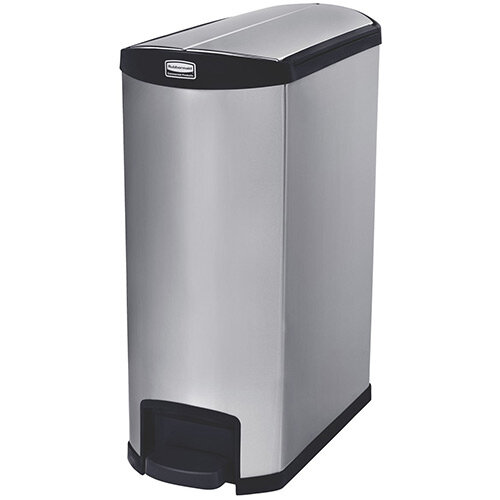 Rubbermaid Metal Slim Jim 90 Litre End Step Step-On Stainless Steel Waste Basket Black