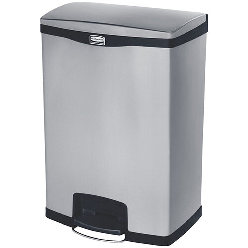 Rubbermaid Metal Slim Jim 90 Litre End Step Step-On Stainless Steel Waste Basket With Dual Liner Black
