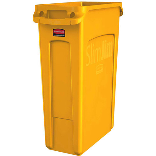 Rubbermaid Slim Jim 87L Waste Container With Venting Channels Yellow