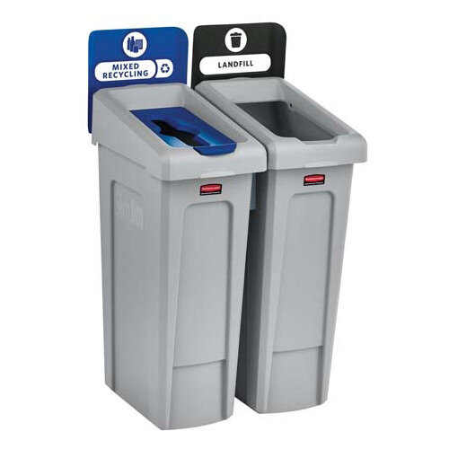 Rubbermaid Slim Jim Recycling Station Bundle 2 Stream Landfill (Black) &Paper (Blue)