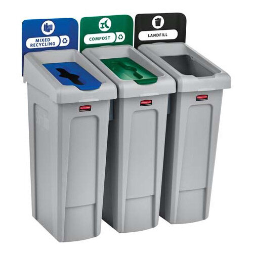 Rubbermaid Slim Jim Recycling Station Bundle 3 Stream Landfill (Black) &Paper (Blue) &Mixed Recycling (Green)