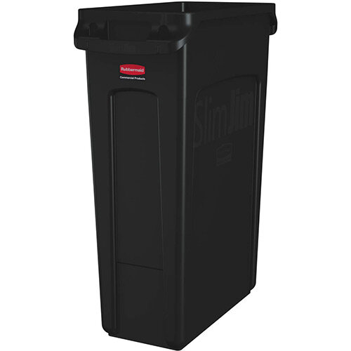 Rubbermaid Slim Jim 87L Waste Container With Venting Channels Black