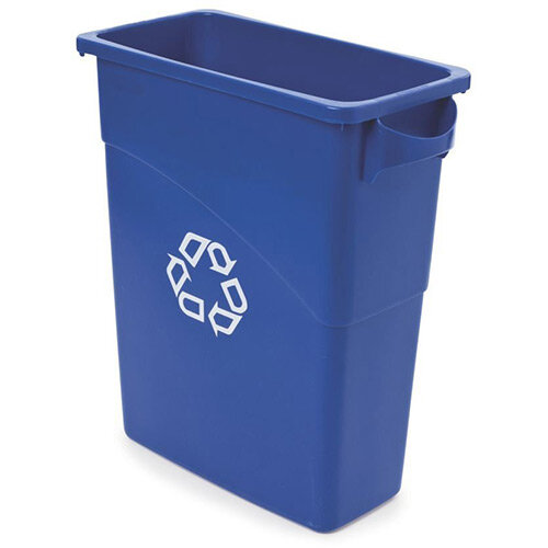 Rubbermaid Slim Jim 60L Recycling Container with Handles Blue
