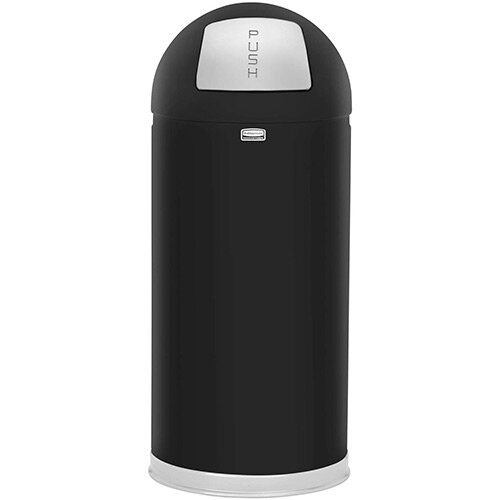 Rubbermaid EasyPush Bin With Galvanised Liner Fire-safe Self-closing 56 Litres W381xH915mm Black