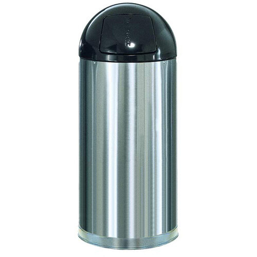 Rubbermaid EasyPush Bin With Galvanised Liner Fire-safe Self-closing 56 Litres W381xH915mm Stainless Steel