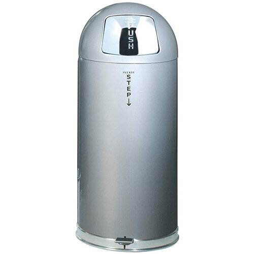 Rubbermaid EasyPush Bin With Galvanised Liner Fire-safe Self-closing 56 Litres W381xH915mm Silver
