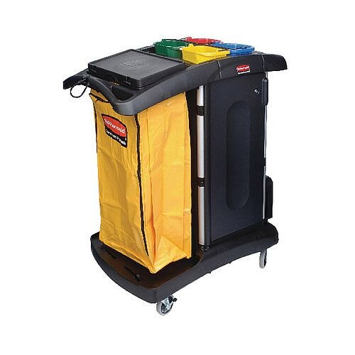 Rubbermaid Cleaning Trolley Secure Microfibre Cart Assembled Black R052001