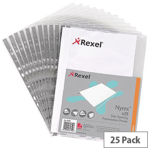 Rexel Nyrex Side Presentation Pockets A4 90 Micron Pack of 25