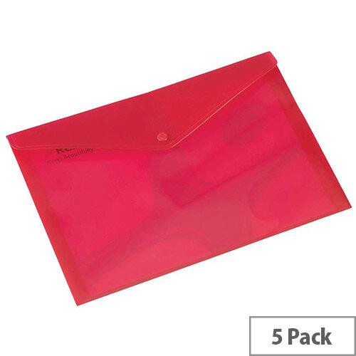 Rexel Popper Wallet Polypropylene A4 Translucent Red Ref 16129RD Pack of 5