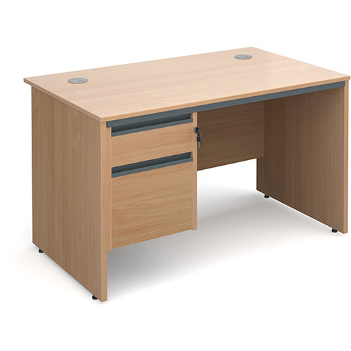 Maestro panel end straight desk with 2 drawer pedestal 1228mm - beech
