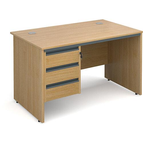 Maestro panel end straight desk with 3 drawer pedestal 1228mm - oak