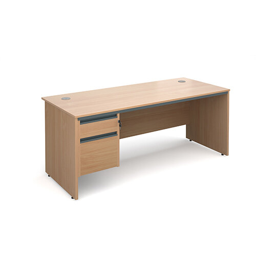 Maestro panel end straight desk with 2 drawer pedestal 1786mm - beech