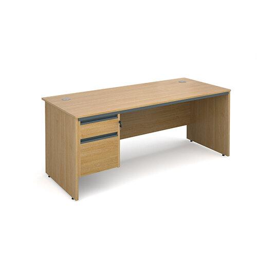 Maestro panel end straight desk with 2 drawer pedestal 1786mm - oak