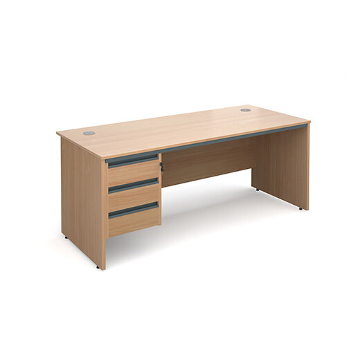 Maestro panel end straight desk with 3 drawer pedestal 1786mm - beech
