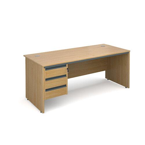 Maestro panel end straight desk with 3 drawer pedestal 1786mm - oak