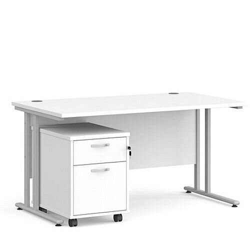 Maestro 25 SL straight desk 1400mm x 800mm with silver cantilever frame and 2 drawer pedestal - white