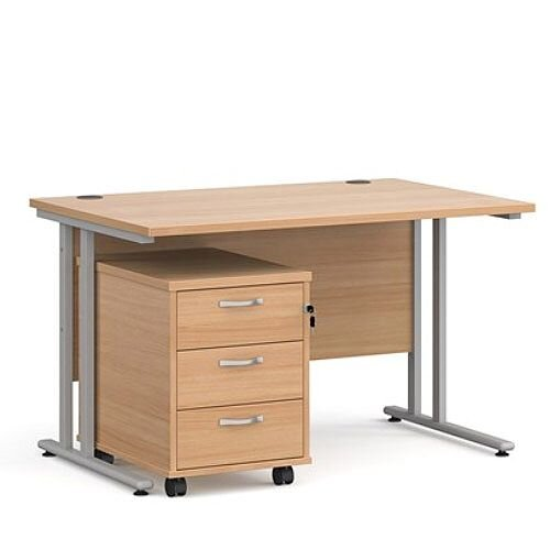 Maestro 25 SL straight desk 1200mm x 800mm with silver cantilever frame and 3 drawer pedestal - beech