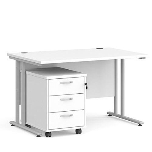 Maestro 25 SL straight desk 1200mm x 800mm with silver cantilever frame and 3 drawer pedestal - white