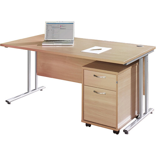 Maestro 25 WL straight desk 1200mm x 800mm with white cantilever frame and 2 drawer pedestal - beech