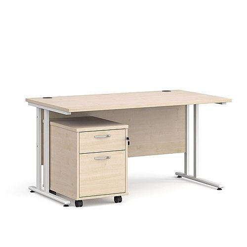Maestro 25 WL straight desk 1400mm x 800mm with white cantilever frame and 2 drawer pedestal - maple