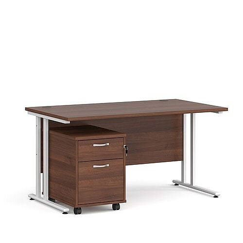 Maestro 25 WL straight desk 1400mm x 800mm with white cantilever frame and 2 drawer pedestal - walnut