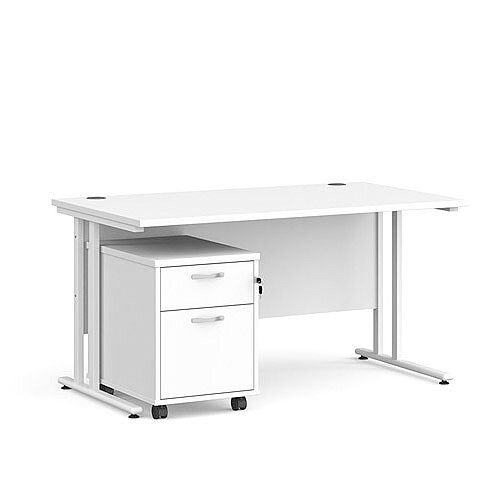 Maestro 25 WL straight desk 1400mm x 800mm with white cantilever frame and 2 drawer pedestal - white