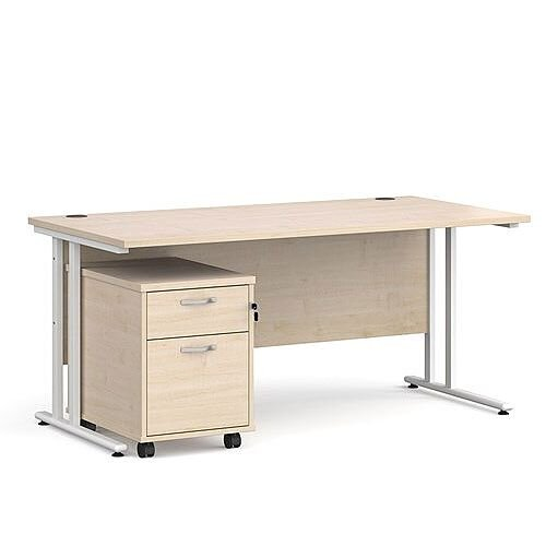 Maestro 25 WL straight desk 1600mm x 800mm with white cantilever frame and 2 drawer pedestal - oak