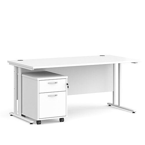 Maestro 25 WL straight desk 1600mm x 800mm with white cantilever frame and 2 drawer pedestal - white