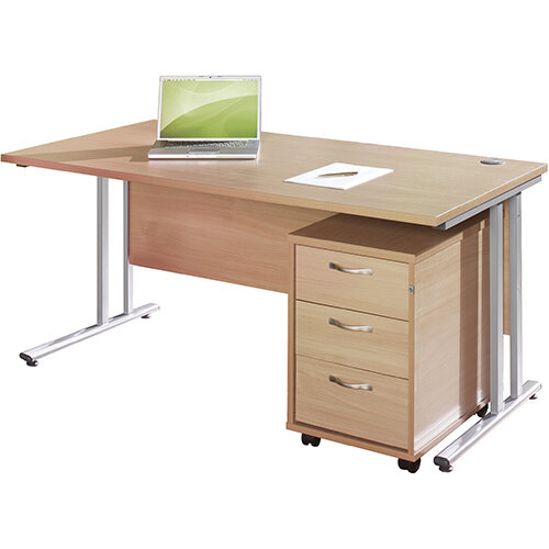 Maestro 25 WL straight desk 1200mm x 800mm with white cantilever frame and 3 drawer pedestal - beech