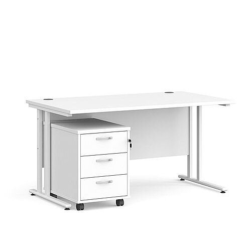 Maestro 25 WL straight desk 1400mm x 800mm with white cantilever frame and 3 drawer pedestal - white