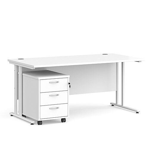 Maestro 25 WL straight desk 1600mm x 800mm with white cantilever frame and 3 drawer pedestal - white