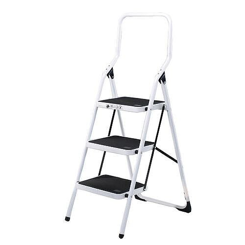 Safety Steps Folding Step Stool with Rail 3-Tread Height 0.77m High Back White Aluminium 321678