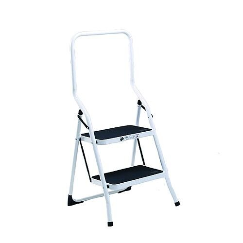 Safety Steps Folding Safety Rail 2 Treads Height 0.47m High Back White Aluminium 4312-001