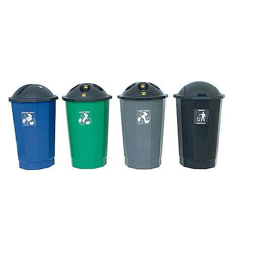 Plastic Bottle Bin Recycling Bank Black/Granite 75L SBY14624