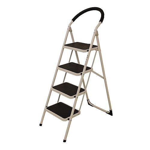 Step Ladder Folding Step Stool 4 Tread White Top Step Height 950mm 359295