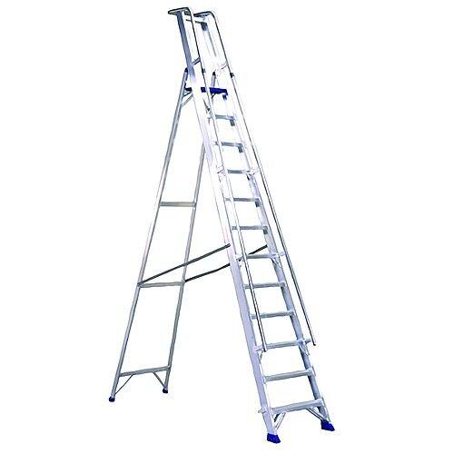 Aluminium 10 Steps Ladder Platform Height 2.3M Max Height 3.6M Capacity 150Kg 377860