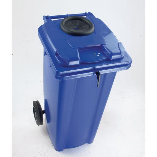 Wheelie Bin 120 Litre with Bottle Bank Aperture and Lid Lock Blue 124551