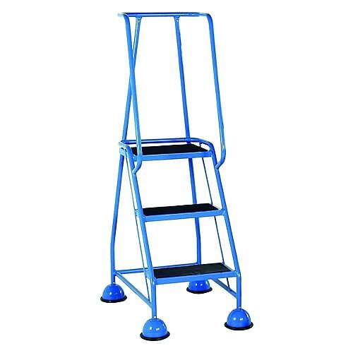 VFM Light Blue Three Tread Mobile Steps Height 1.425m Capacity 125kg