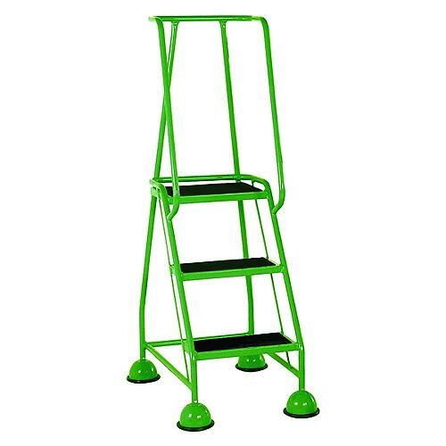 VFM Green Three Tread Mobile Steps Height 1.425m Capacity 125kg