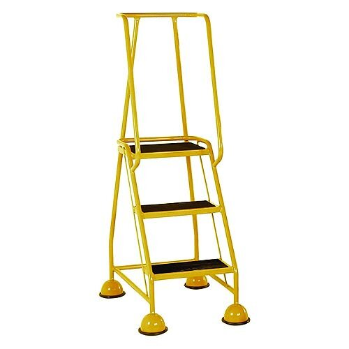 VFM Yellow Three Tread Mobile Steps Height 1.425m Capacity 125kg