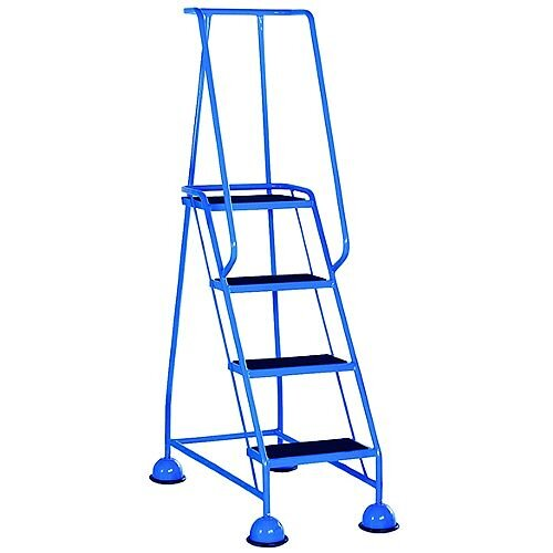 4 Rubber Tread Light Blue Mobile Safety Steps With Handrail Height 1.68m Capacity 125kg