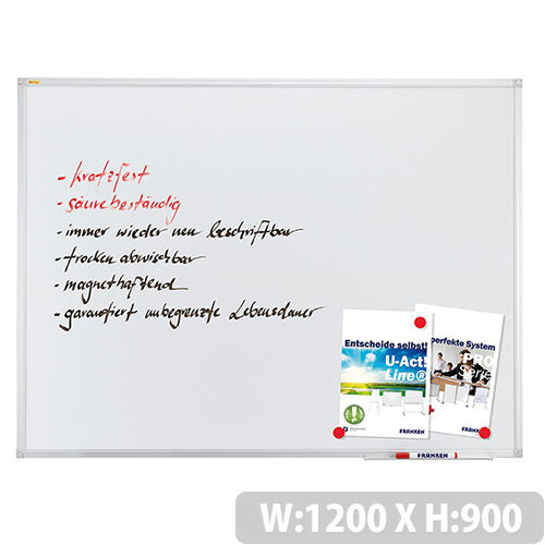 Franken ValueLine Magnetic Whiteboard 1200 x 900 mm Aluminium Frame SC3203